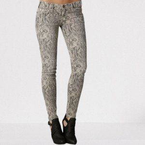 Current/Elliott  The Ankle Printed Low-Rise Skinny